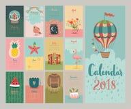 Calendar 2018. Cute monthly calendar. Stock Photography