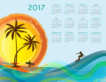 Calendar 2017. Cute calendar for the New Year 2017 Royalty Free Stock Photo