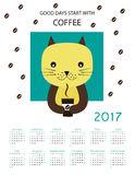 Calendar 2017. Cute calendar for the New Year 2017 Stock Photography