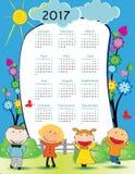 Calendar 2017. Cute calendar for the New Year 2017 Royalty Free Stock Photos