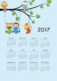 Calendar 2017. Cute calendar for the New Year 2017 Stock Photo