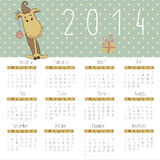 Calendar for 2014 with cute New Year horse. Royalty Free Stock Image