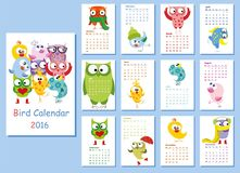 Calendar 2016. Cute owls and birds,vector. Illustration picture Royalty Free Stock Image