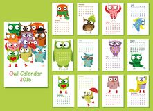 Calendar 2016. Cute owls for every month,vector Royalty Free Stock Photography