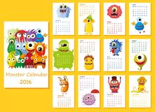 Calendar 2016. Cute owls for every month,vector Royalty Free Stock Images