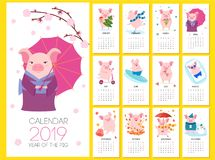 Calendar 2019 with cute pigs. Vector illustration. stock illustration