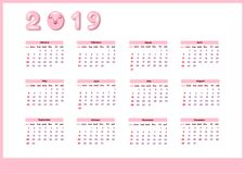 Calendar for 2019 with cute pink color pig. Vector vertical editable template. Week starts on Sunday. vector illustration