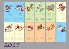 Calendar 2017 with cute rooster Royalty Free Stock Photography