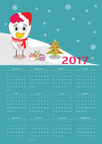 Calendar 2017 with cute rooster. Vector Royalty Free Stock Image