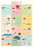 Calendar 2017 with cute rooster. Vector Royalty Free Stock Photo