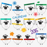 2015 calendar with cute sheep Stock Photos