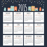 Calendar 2015 with cute winter houses,  illustration. Background Royalty Free Stock Photography