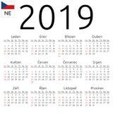 Calendar 2019, Czech, Sunday. Simple annual 2019 year wall calendar. Czech language. Week starts on Sunday. Sunday highlighted. No holidays highlighted. EPS 8 Royalty Free Stock Photos