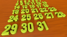 Calendar. 2d design of 3d numbers Royalty Free Stock Photography