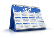 Calendar 2014. 3D desktop calendar 2014 in white background Stock Images