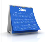 Calendar 2014. 3D desktop calendar 2014 in white background Royalty Free Stock Photos