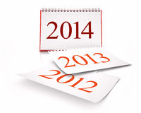 Calendar 2014. 3D desktop calendar 2014 in white background Stock Photos