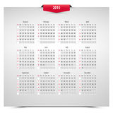 2015 calendar. On 3d effect sheet, week starts with sunday, eps10 Royalty Free Stock Photos