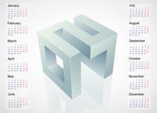 Calendar 2017 with 3D emblem Stock Photos