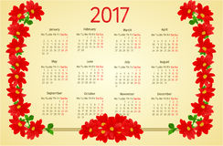 Calendar 2017 with Dahlia vintage vector. Calendar 2017 with red Dahlia vintage vector illustration Royalty Free Stock Photos