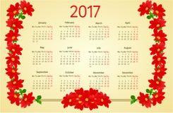 Calendar 2017 with Dahlia vintage vector Royalty Free Stock Photos