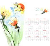Calendar with Dandelion Stock Photo