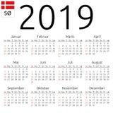 Calendar 2019, Danish, Sunday. Simple annual 2019 year wall calendar. Danish language. Week starts on Sunday. Sunday highlighted. No holidays highlighted. EPS 8 Royalty Free Stock Photos