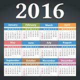 2016 Calendar. On dark background Stock Photography