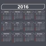 2016 Calendar. On dark background Royalty Free Stock Photos