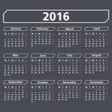 2016 Calendar. On dark background Stock Images