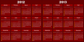 Calendar of dark red color. Template of a calendar for 2012 and 2013. A template of dark red color Stock Photography