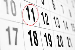 Calendar with date circled in red. Calendar page close-up , Calendar with date circled in red Royalty Free Stock Photo