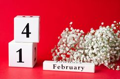 Calendar happy Valentine`s Day on a red background stock photography