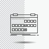Calendar, date, event, release, schedule Line Icon on Transparent Background. Black Icon Vector Illustration royalty free illustration