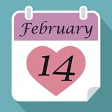 Calendar date fourteenth February with pink red Heart on blue ba. Ckground with shadow flat simple vector icon valentines day concept stock illustration