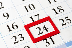 Calendar date highlighted in red Royalty Free Stock Image