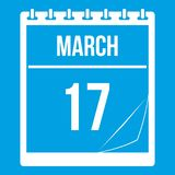 Calendar with date of March 17 icon white. Calendar with the date of March 17 icon white isolated on blue background vector illustration Royalty Free Stock Images