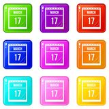 Calendar with date of March 17 icons 9 set. Calendar with the date of March 17 icons of 9 color set  vector illustration Royalty Free Stock Photo