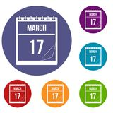 Calendar with date of March 17 icons set. Calendar with the date of March 17 icons set in flat circle red, blue and green color for web Royalty Free Stock Photography
