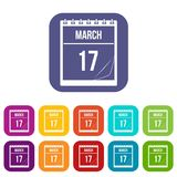 Calendar with date of March 17 icons set flat. Calendar with the date of March 17 icons set vector illustration in flat style In colors red, blue, green and Royalty Free Stock Image