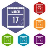 Calendar with date of March 17 icons set hexagon. Calendar with the date of March 17 icons set hexagon isolated vector illustration vector illustration