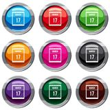 Calendar with date of March 17 set 9 collection. Calendar with the date of March 17 set icon isolated on white. 9 icon collection vector illustration Royalty Free Stock Images