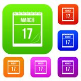 Calendar with date of March 17 set color collection. Calendar with the date of March 17 set icon color in flat style isolated on white. Collection sings vector Royalty Free Stock Photo