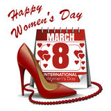 Calendar with the date of March 8, womens shoes, red beads. Womens Day design. 8 March card. Congratulations to the International Womens Day. Calendar with the Stock Image