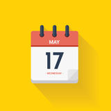 Calendar with date May 17, 2017. Vector illustration. Vector illustration. Day calendar with date May 17, 2017. Yellow background Stock Image