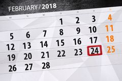 Paper calendar date 24 month February 2018. Calendar date 24 month February 2018 royalty free stock photos