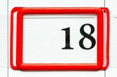 Calendar date. With number eighteen Royalty Free Stock Photo