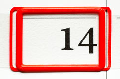 Calendar date. With number fourteen Royalty Free Stock Photography