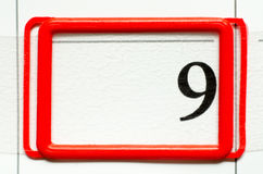 Calendar date. With number nine Stock Photo