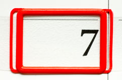 Calendar date. With number seven Stock Photos
